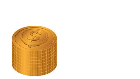 Golden dollar coins stacks CG動画