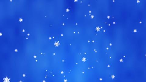 雪が上から降ってきます 背景はブルー CG動画