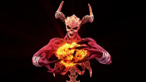 The Hell Creature Casting Skulls Fire Ball VJ Loop 애니메이션