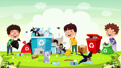 Little Children Cleaning And Recycling Garbage Animation