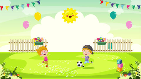 Children Playing In The Park Animation