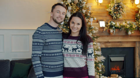 Slow motion portrait of happy couple man and woman standing together at Live Action