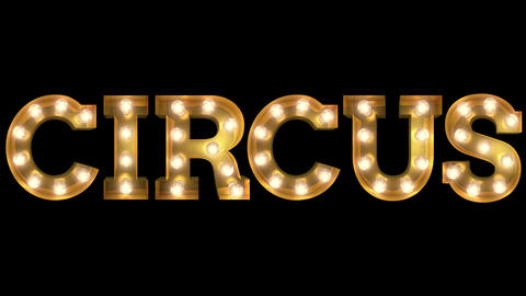 Light bulb letter two way blinking action spelling the word Circus Animation