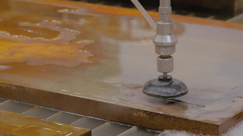 Fast extreme cnc automatic waterjet cutting machine working with sheet metal Live Action