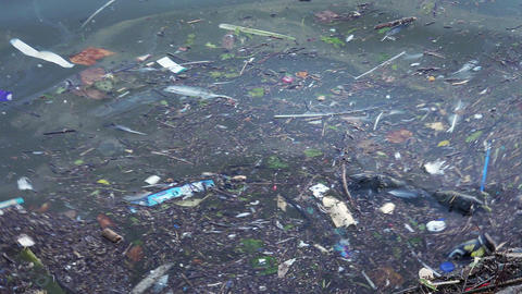 Plastic garbage and other pollution debris floating in water Footage