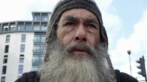 real old homeless portrait: elderly poor man Footage