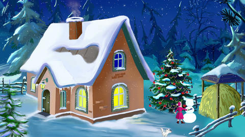 Small House in a Beautiful New Year's Eve Animation
