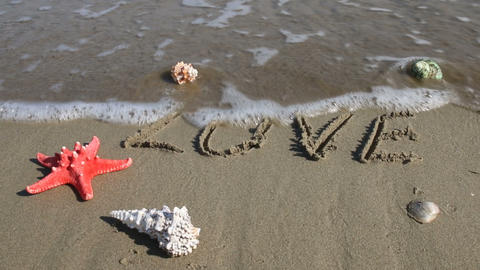 Sea wave erase word love handwritten on sand Footage