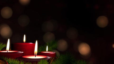 Looped Candles on Advent Wreath and Dark Copy Space 애니메이션