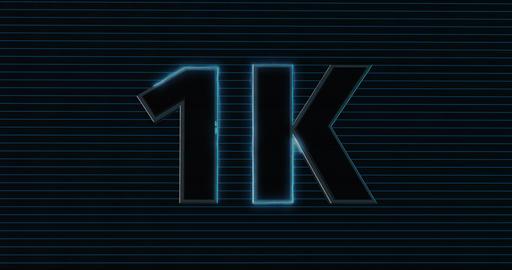 1K, 1000. 3D Promotion Intro. Text Logo Animation