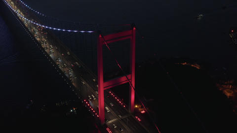 Red Bosphorus Bridge in Istanbul at Night with Car traffic into the City ライブ動画