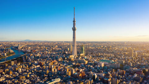 Tokyo sky tree and Building Tokyo city on sunrise at Tokyo, Japan Live Action