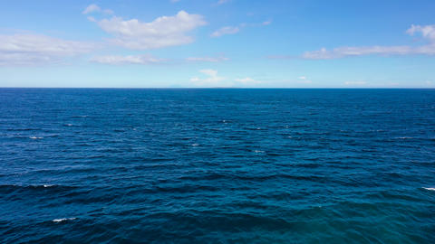 Blue sea and sky with clouds, view from the drone ライブ動画