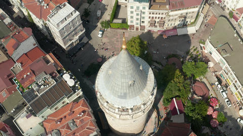 Top of Galata Tower on Square in Istanbul, Turkey from an Aerial overhead top Live Action