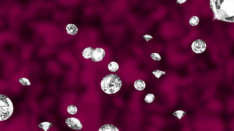 Abstract Animation of Falling Diamonds motion Red Live Action