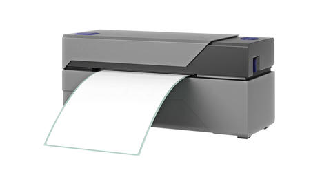 Barcode printer gray office technology Animation