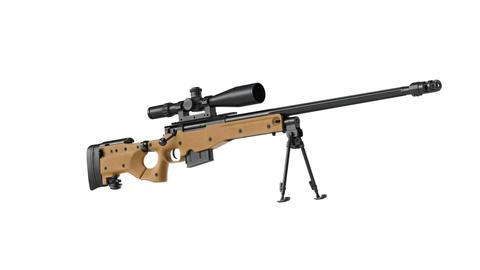 Rifle sniper gun black steel beige Animation