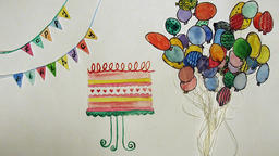Animated happy birthday postcard with cake, balloons and flags with words Animation
