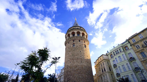 Galata Tower - Istanbul - Under view Footage