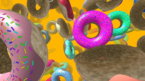 Flying donuts generated 3D video Animation