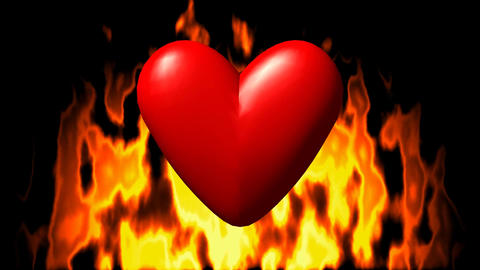 Burning heart in fire seamless loop video GIF