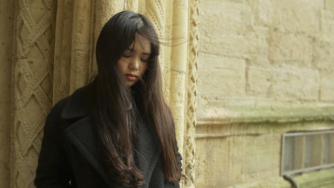 lonely troubled and pensive young chinese woman portrait: sad asian woman Footage