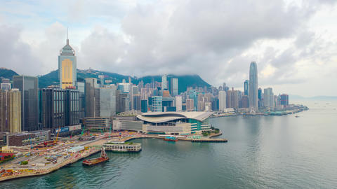 Victoria Harbour in Hong Kong. hyper lapse in hong kong city Live Action
