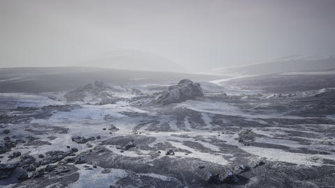 Antarctic mountains with snow in fog GIF