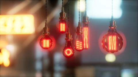 old retro vintage incandescent light bulb 실사 촬영