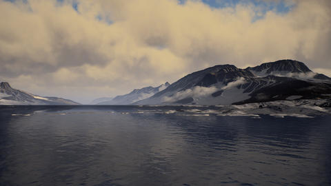 Mountains covered with ice in Antarctic landscape GIF