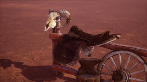 Horse Saddle on the Fence in Monument Valley GIF