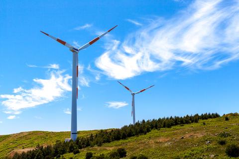 Eco power wind turbines landscape Fotografía