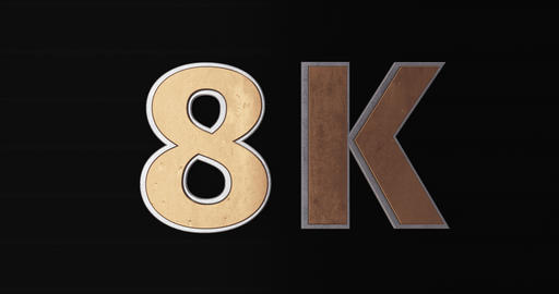 8K, 8000. 3D Promotion Intro. Gold Text Logo Animation
