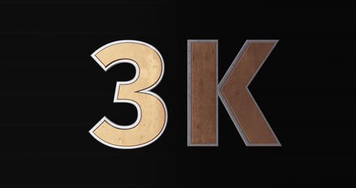 3K, 3000. 3D Promotion Intro. Gold Text Logo Animation