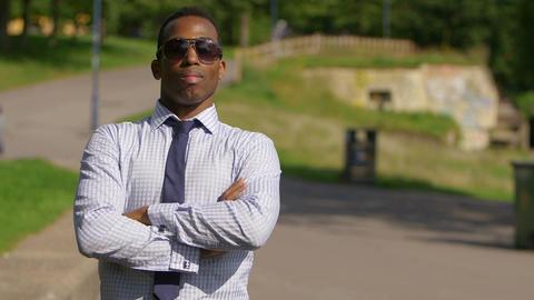confident businessman with necktie: tie, fix, adjusting the tie Live Action