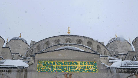 snowstorn of the old Blu Mosque in Istanbul Footage