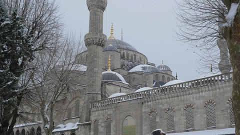 arches and minarets under the snow in winter in instanbul Footage