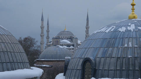 view of minarets and domes of the mosque in istanbul taken from the roof Footage
