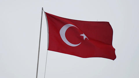 traditional half moon on red, symbols of Turkey, waving flag in the wind Footage
