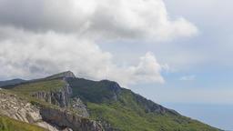 Clouds over the cliff. The ridge of Ai-Petri. Crimea Footage