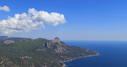 South Crimea, Laspi Bay. View from Mount Kush-Kaya. Time Lapse Footage