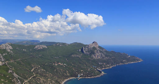 South Crimea, Laspi Bay. Zoom. View from Mount Kush-Kaya. Time Lapse Footage