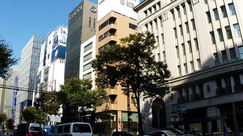 Turn left at the famous intersection of Tokyo cityscape, Ginza Footage