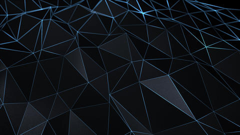 Abstract Dark Black 3d Triangle Surface Polygonal Live Action