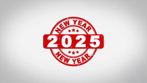 Happy New Year 2025 Signed Stamping Text Wooden Acción en vivo