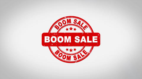 Boom Sale Signed Stamping Text Wooden Stamp Acción en vivo