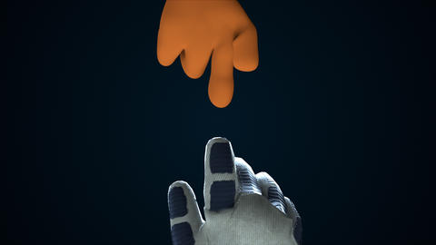 Two hands reaching out to each other in space, 3d rendering. Computer generated Animation