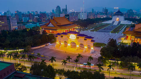 Aerial view 4k Hyper lapse of Front gate of Chiang Kai Shek Memorial hall in Taipei Live Action