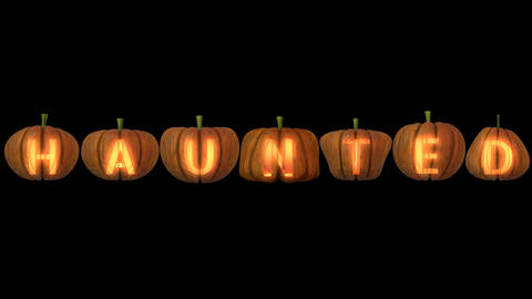 Carved Pumpkin Letters forming the text Haunted 2 動畫