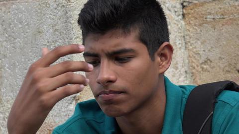 Sad And Unhappy Male Hispanic Teen Footage